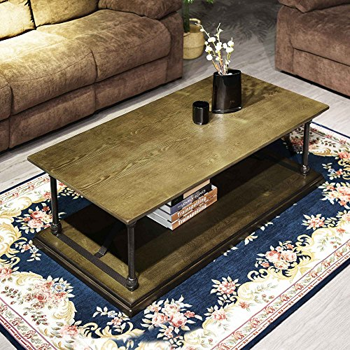 Coffee Table Bronze Modern Industrial Vintage Home Office Soild Wood Metal Table With Open Storage Shelf Easy-Assembly 47.2 x 23.6 x 16.7 Inches for Living Drawing Receiving Room