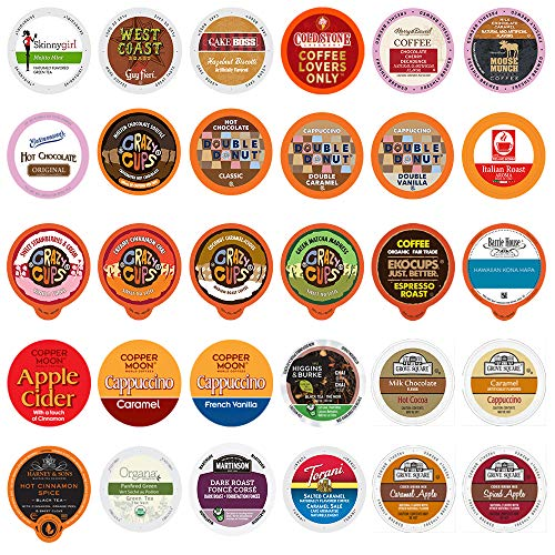 Coffee, Tea, Cider, Cappuccino & Hot Chocolate Single Serve Cups For Keurig K Cup Brewers Variety Pack Sampler, 30Count (Mix Sampler) (All unique cups, no duplicates) ()