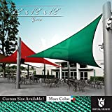 Royal Shade 12' x 12' x 12' Green Triangle Sun Shade Sail Canopy Outdoor Patio Fabric Shelter Cloth Screen Awning - 95% UV Protection, 200 GSM, Heavy Duty, 5 Years Warranty, Custom