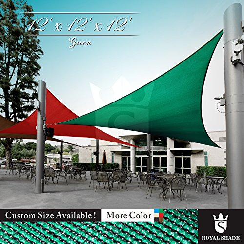 Royal Shade 12' x 12' x 12' Green Triangle Sun Shade Sail Canopy Outdoor Patio Fabric Shelter Cloth Screen Awning - 95% UV Protection, 200 GSM, Heavy Duty, 5 Years Warranty, Custom by Royal Shade