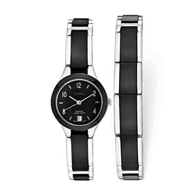d6ee7b1049f3d Image Unavailable. Image not available for. Color  Chisel Ladies Chisel  Ceramic and Stainless Steel Black Dial Watch ...