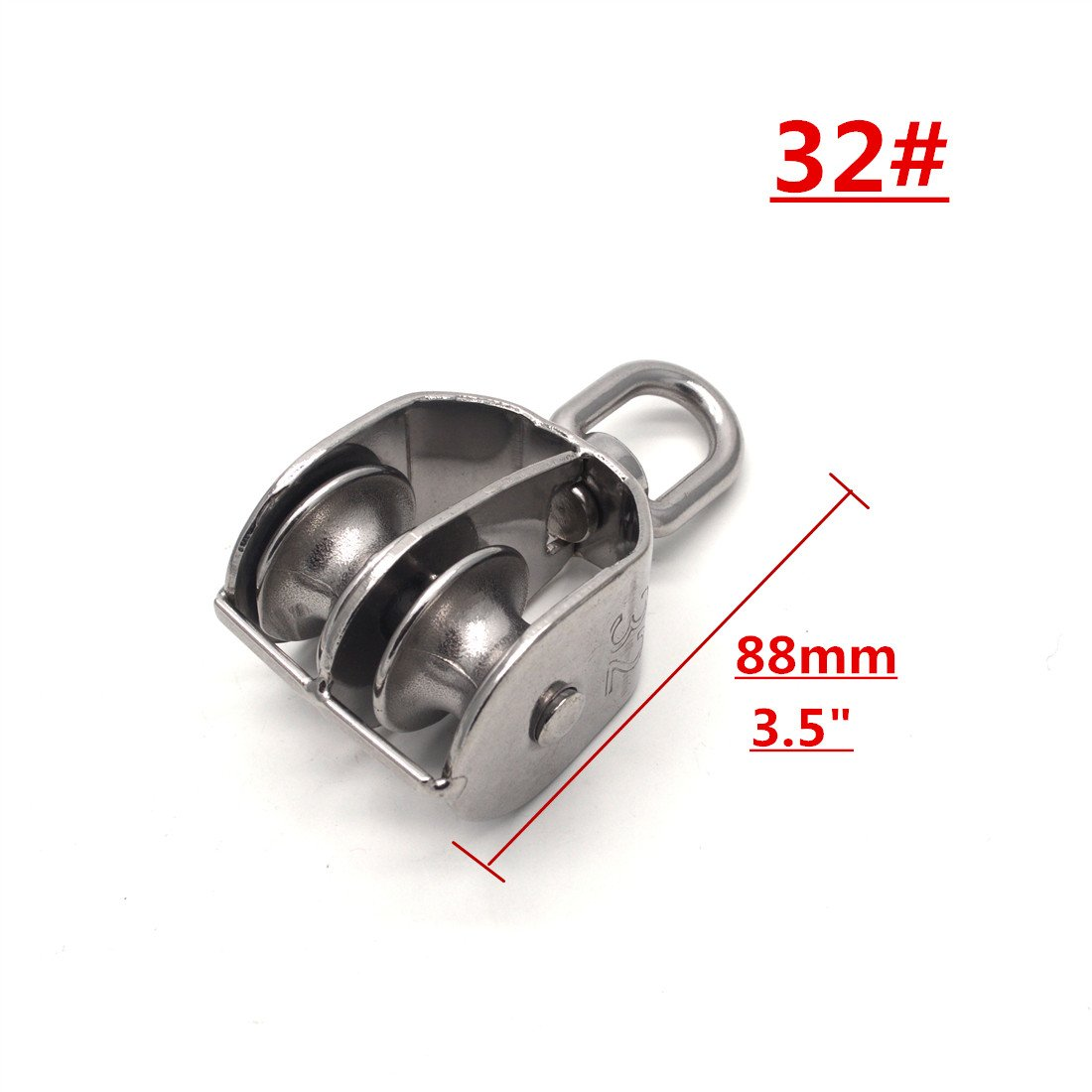 Sydien Sydien 32M/1.26 Inch 304 Stainless steel Double Pulley Block Double Wheel Swivel Pulley Block Loading 250kg 1pcs