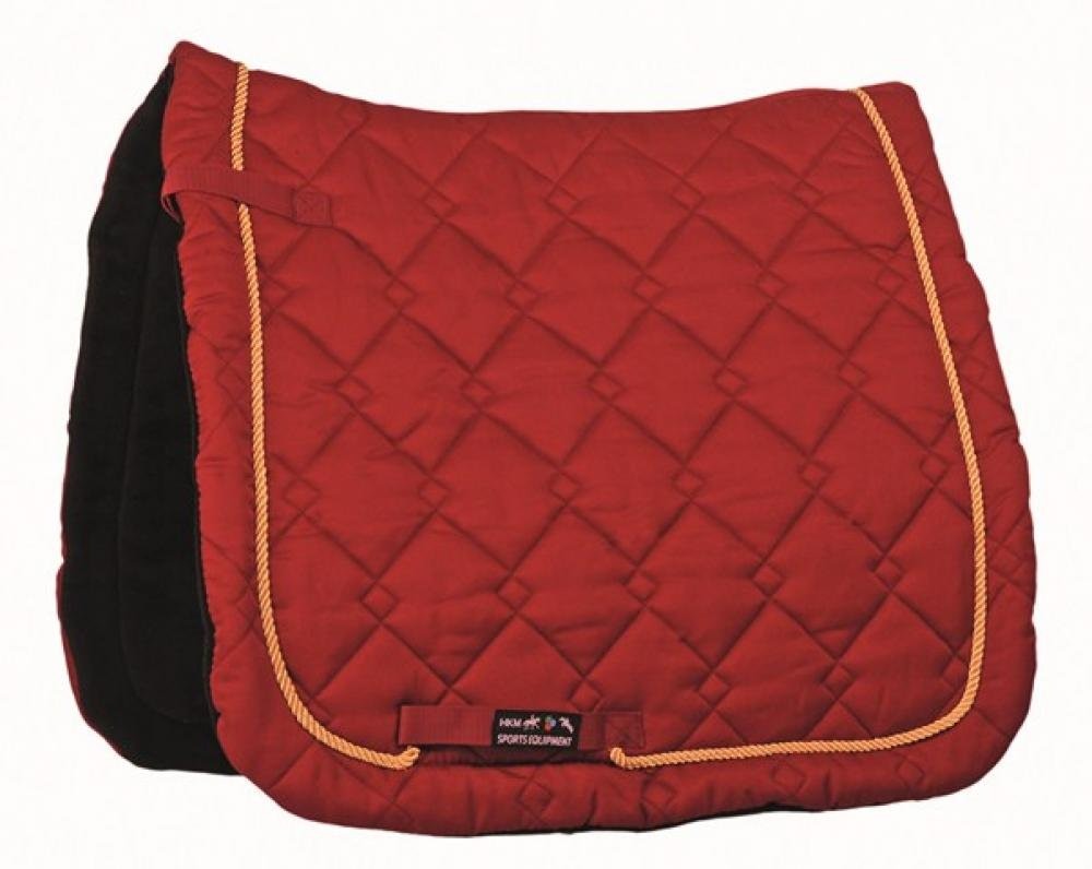 HKM Saddlecloth Gently Dressage - dark red/ golden K, Vollblut/Warmblut