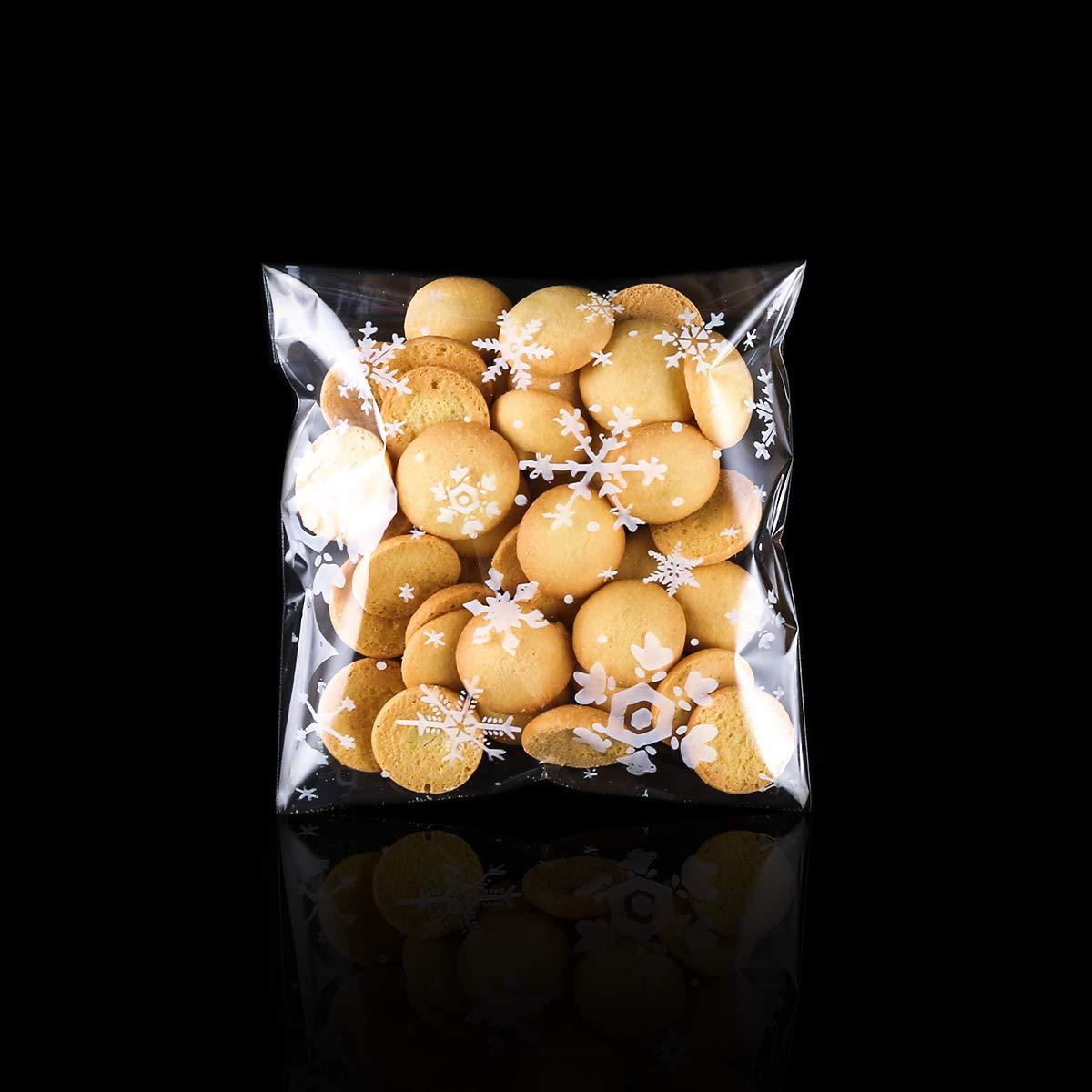 autoadesiva risigillabile plastica Sacchetti per Alimentari di Natale Festa Fiocchi di Neve Sacchetti cellophane Trasparente per Caramella MELLIEX 200pcs Sacchetti Biscotti di Natale