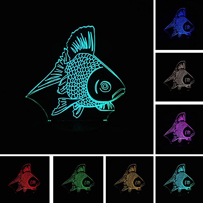 BFMBCHDJ Nueva caricatura LED 3D Gold Fish Night Light 7 colores ...