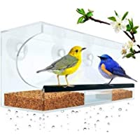 PinShang Clear Window Bird Feeder, Transparent Acrylic Hanging Feed Box Cage for Small Birds Parrot 30x10x14cm