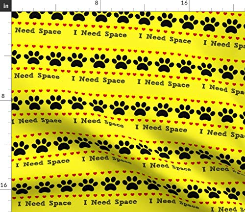 (Yellow Dog Fabric - Dog Training Paw Print Rescue Courage Space Print on Fabric by The Yard - Sport Lycra for Swimwear Performance Leggings Apparel Fashion)