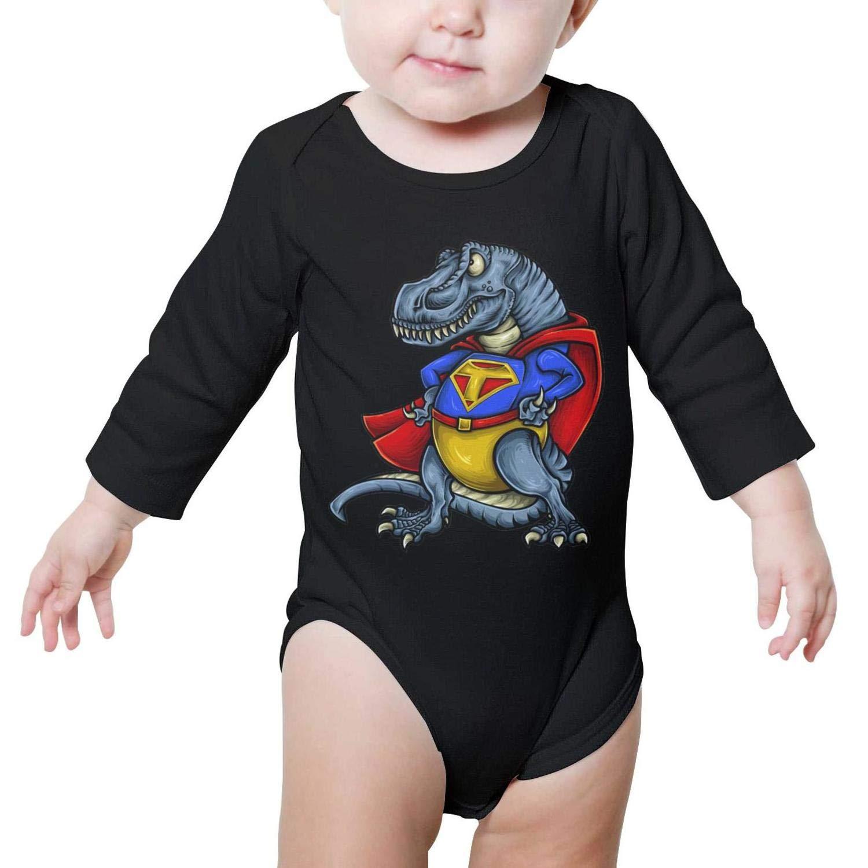 Super T-Rex Dinosaur Superhero Long Sleeve Natural Organic Baby Onesie Outfits 0-3 Months for Kids Boys Girls