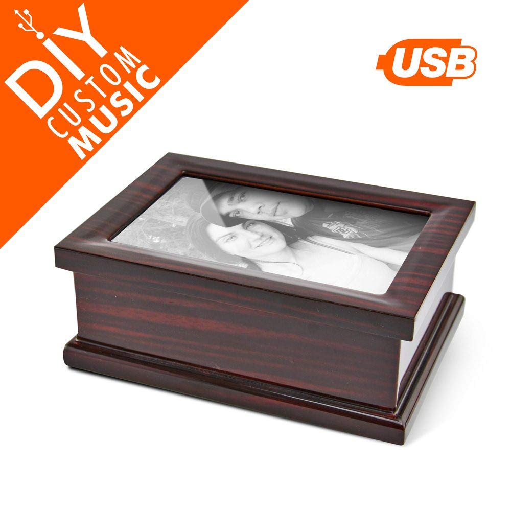 Custom Music Box with 4 X 6 Photo Frame - Upload Your Own Songs, Custom Music Box with Photo Insert and Jewelry Space - 95 MB USB Sound Module with 15 MP3 Songs Uploads - On/Off Switch, Volume Control