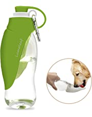 LumoLeaf Portable Pet Water Bottle, Reversible & Lightweight Water Dispenser for Dogs and Cats, Made of Food-Grade Silicone (20 Oz) - Green