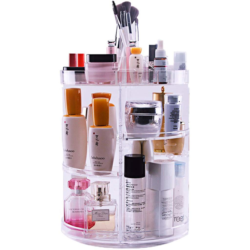 LTOOTA 360 Degree Rotating Makeup Organizer, Adjustable Multi-Function Cosmetic Storage Box Large Capacity, Fits Different Types Cosmetics Accessories Transparent