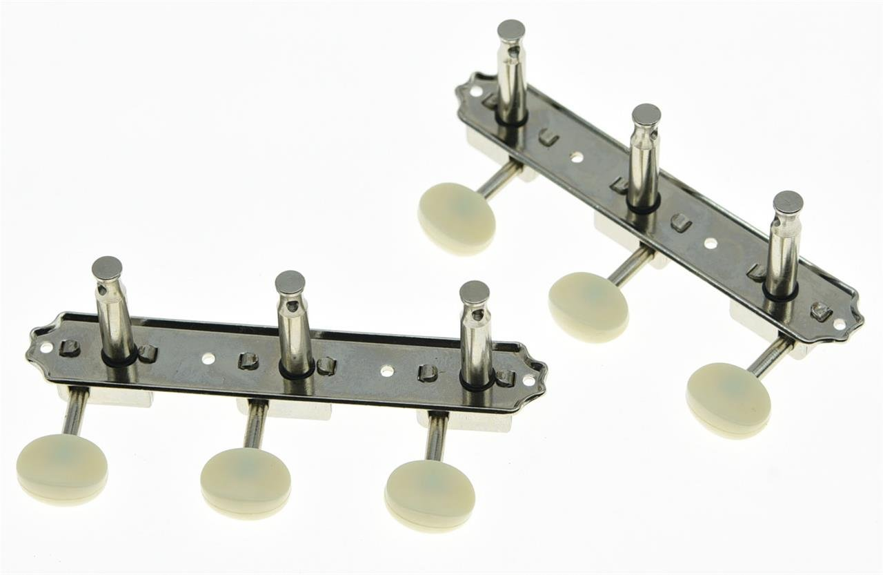 KAISH Nickel w/Aged White 3 per side 3x3 on a Plate Vintage Guitar Tuning Keys Tuners Korea Made by KAISH (Image #2)