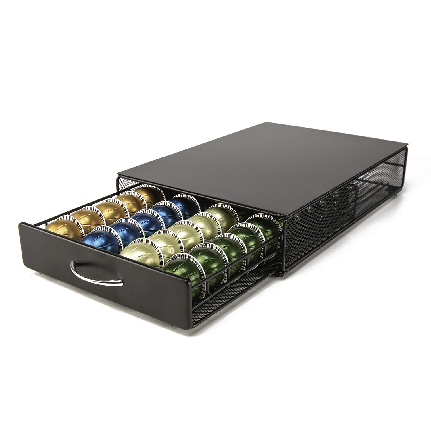 Vertuo Capsule Holder HiveNets Coffee Machine Stand Metal Storage Drawer Dispenser Compatible for Nespresso Vertuoline 40 PCS Capacity Multiple Flavors Pods Organizer Black by HiveNets