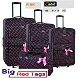 CS6660 PINK CHARLIE SPORT POLKA DOT LUGGAGE BAG 4 pcs