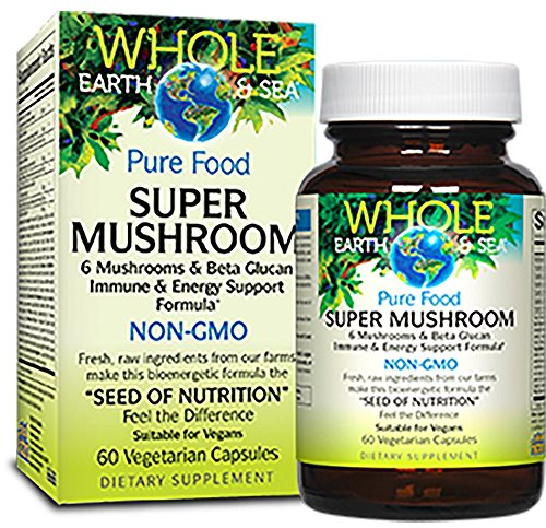Whole Earth & Sea – Super Mushroom, Support for Immunity, Energy, Stress Management, and Cognitive Health with Lion's Mane, Cordyceps, Reishi, Chaga, and Maitake, 60 Vegetarian Capsules Review