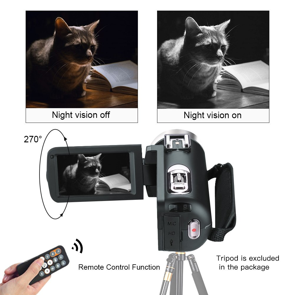 Camcorder Video Camera Full HD 1080p 24.0MP Digital Camera External Microphone Video Recorder Night Vision Webcam with Remote Control by COMI (Image #4)
