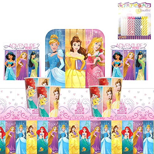 Disney Princess Birthday Decoration Ideas (Disney Princess Dream Big Party Plates Napkins Cups and Table Cover Serves 16 with Birthday Candles - Disney Princess Party Supplies Pack Deluxe (Bundle for)