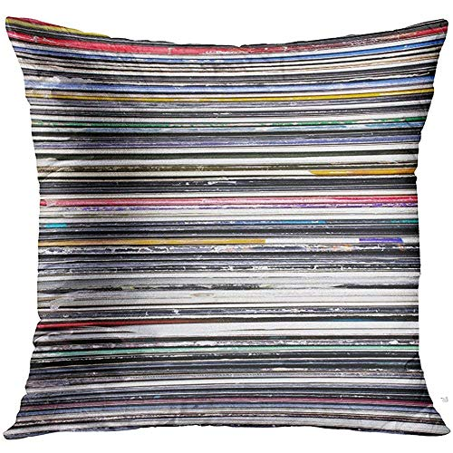 - Throw Pillow Cover Music Vinyl Records Collection Stack Decorative Pillow Case Home Decor Square 18x18 Inches Pillowcase