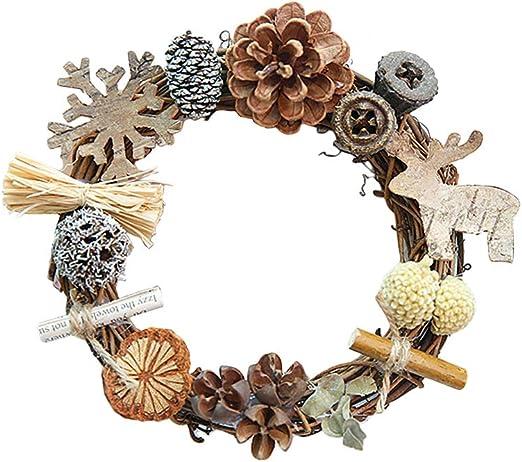 Vosarea 12x12 cm Puerta de Navidad Guirnalda De Madera Adornos Flor Arte Navidad Garland Porche de Entrada Escalera Decoración: Amazon.es: Hogar