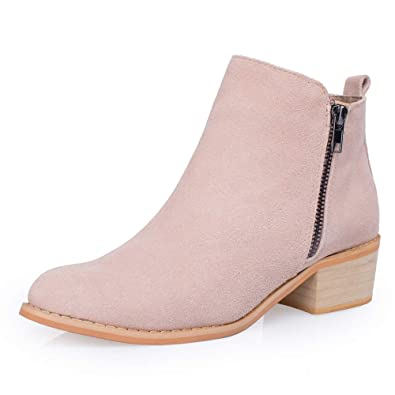 12fe4e45c34 SheSole Women s Leather Ankle Boots Stacked Heel Bootie Taupe ...