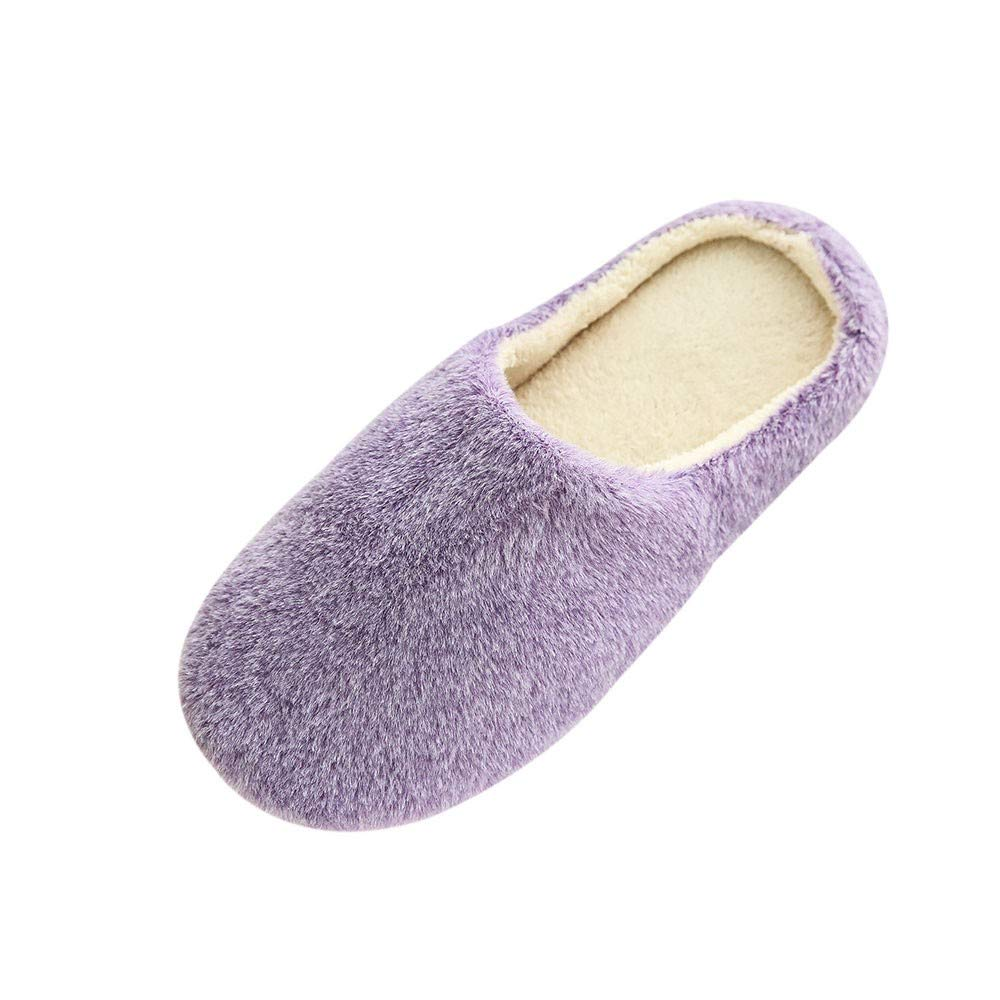 Women Plush Foam Slippers Men Slip-on House Shoes Indoor Outdoor Anti-Skid Pressure Relief Comfortable & Washable (Purple-Women, US 6-6.5)
