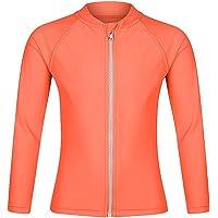 Girls Long Sleeve Rash Guard Swimwear, Zip Swim Shirt, Sun UPF 50+ (Age 3-10)…