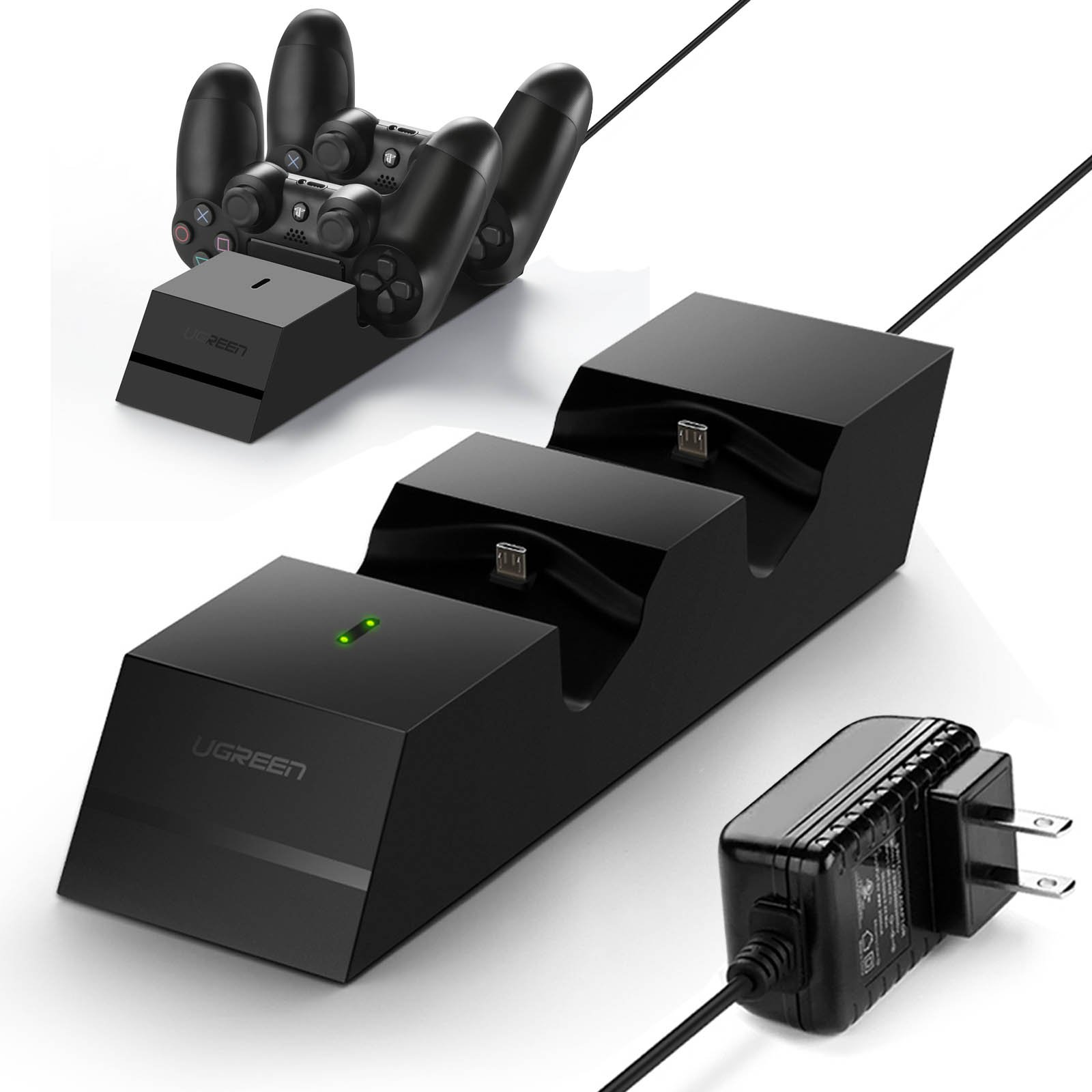 UGREEN Charger for PS4 Controller PS4 Charging Station, 2.5 Hours Full Charge for 2 Controllers, DualShock 4 Charger Dock for PlayStation PS4 Slim, PS4 Pro Controller (5FT Cable with AC adapter)