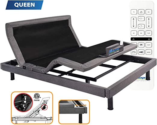 Amazon Com Maxxprime Wall Hugger Adjustable Bed Frame With Individual Head Tilt Electric Bed Base With Dual Massage Usb Under Bed Nightlight Bluetooth App Control Wireless Remote Queen Kitchen Dining