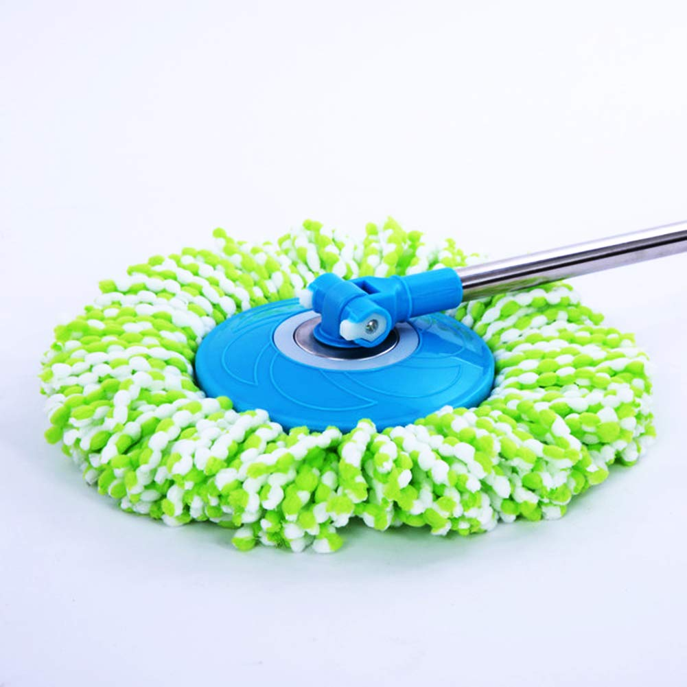 LEMNUY Spin Mop Head Replacement Green and Yellow Round Shape Standard Size( Set of 2 Microfiber Mops Refills Heads Universal for 360 Spin Magic Mop