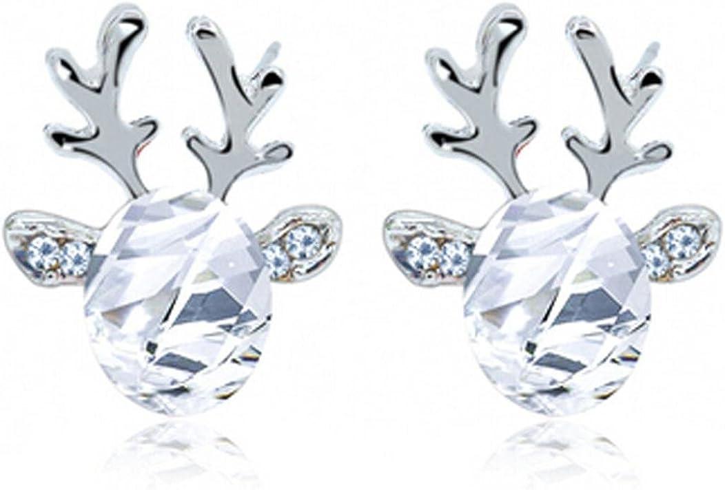 FAMILIZO Pendientes de cristal de la piedra preciosa tridimensional del reno de las astas de los pendientes Regalo de lujo