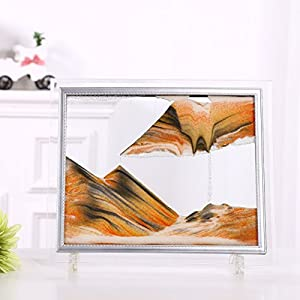 Queenie Glass Frame Moving Sand Art Dynamic Sand Picture Abstract Scenery Sand Image Hourglass Desktop Art Perfect Xmas Gift - Orange Sand