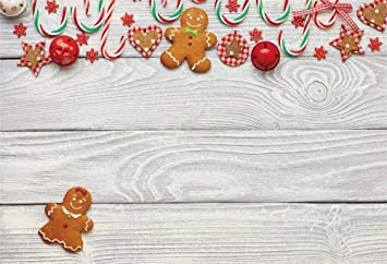 7x10 FT Gingerbread Man Vinyl Photography Backdrop,Festive Christmas Icons Graphic Pattern Star Figures Cookies s Bells Background for Photo Backdrop Baby Newborn Photo Studio Props