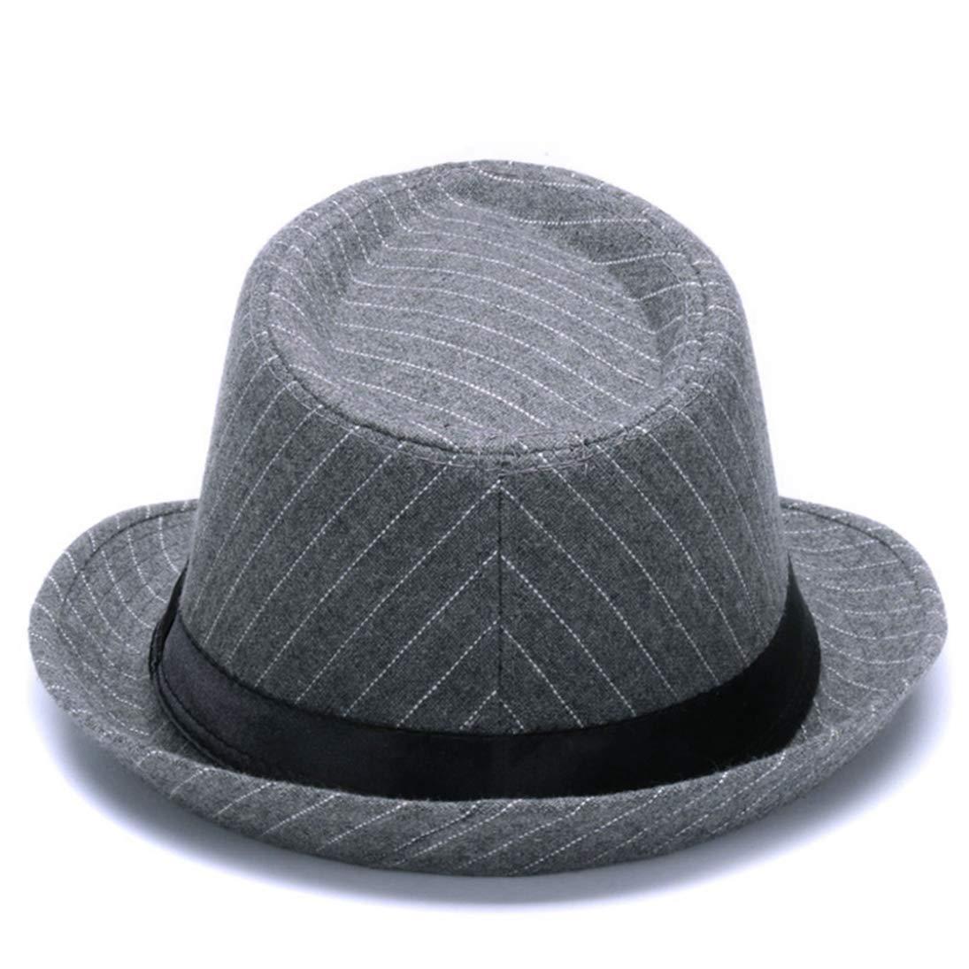 Woolen Short Brim Stripe Fedora Hats Classic Vintage Panama Gangster Trilby Hat Jazz Cap for Men