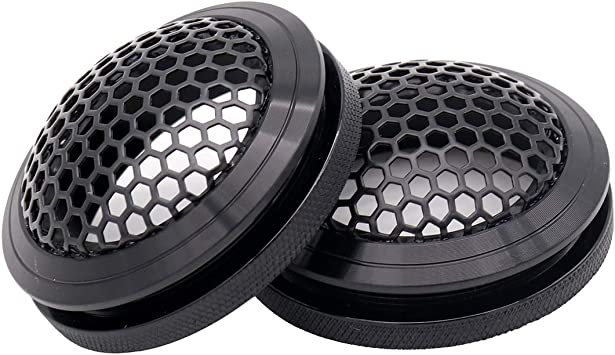 Magicsource 2 pcs Speaker Grills Cover Steel Mesh Protective Case Aluminium Alloy Frame with Electroplated Metal Black Mesh for Car Tweeter 1.5 Gold Speaker Grille