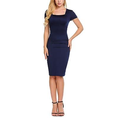 ACEVOG Damen Bleistiftkleid Karree AusschnittEtuikleid Kurzarm Knielang Abendkleid Business Kleid mit Rüschen an der Taille