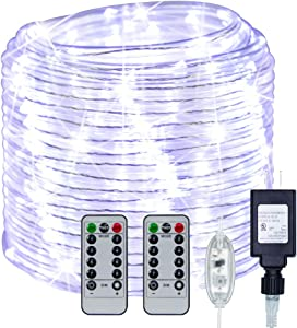 YDHOK 335 LEDs/66FT 8 Modes Plug in/Adapter Rope Lights,Waterproof Clear Tube Copper Wire Lights with Remote for Garden,Patio,Fence,Deck,Walks,Path,Holiday Decor(Warmwhite/White/Multi Color) (White)