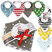 Baby Bandana Drool Bibs - 8 Bib Gift Unisex Set - For Boys and Girls - Perfect for Newborns, Infants and Toodles - Organic Cotton Great for Drooling and Teething - Pacifier Holder as Bonus