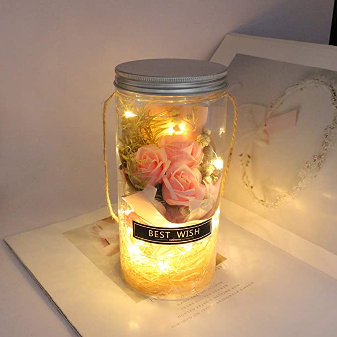 Uonlytech Vidrio Que Desea Botella de jabón Flor de Rosa ...