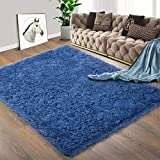 Foxmas Ultra Soft Fluffy Area Rugs for Bedroom Kids Room Plush Shaggy Nursery Rug Furry Throw Carpets for Boys Girls, College Dorm Fuzzy Rugs Living Room Home Decorate Rug, 3ft x 5ft, Light Navy