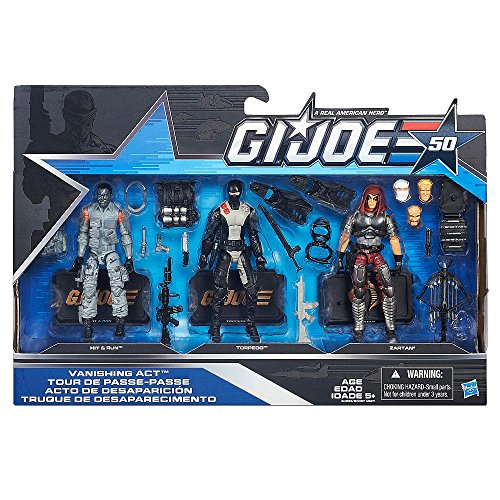 G.I. Joe, 50th Anniversary, Vanishing Act Action Figure Set [Hit & Run, Torpedo, and Zartan], 3.75 Inches