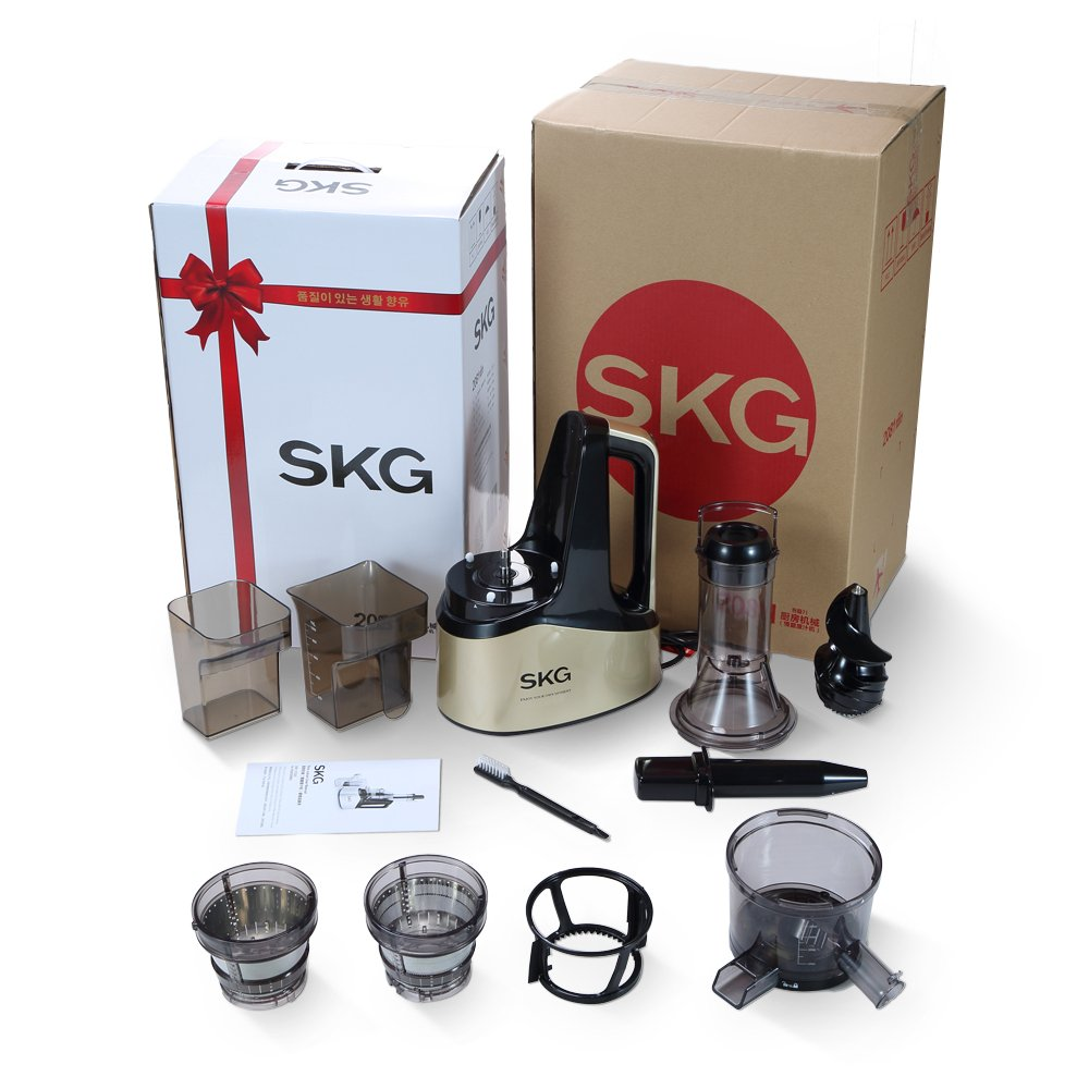 SKG Slow Masticating Juicer Extractor with Wide Chute (240W AC Motor, 43 RPMs, 3'' Big Mouth) Anti-Oxidation Lower Noisy - Vertical Masticating Cold Press Juicer-Champagne by SKG (Image #9)