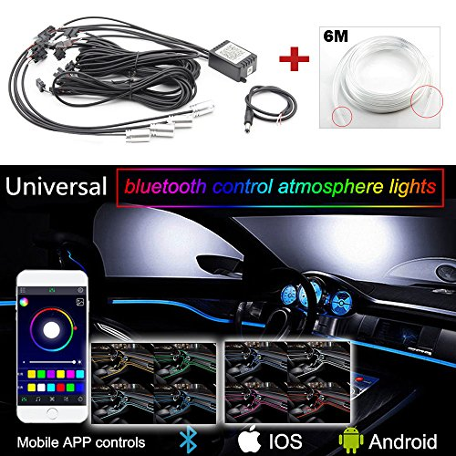 GTinthebox 4x RGB LED Car Interior Dash Board Door Atmosphere Lights With 6M Neon Strips Kit Multicolor APP Bluetooth Controller for iPhone Android