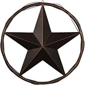 "EBEI 23.5"" Metal Barn Star in Cast Wired Circle Vintage Rustic Style Dark Brown Texas Lone Star Western Home Wall Decor"