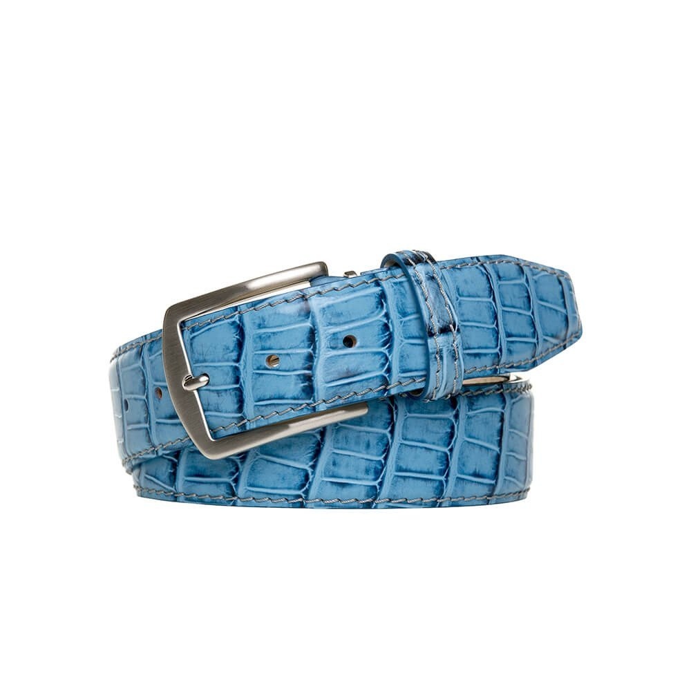 Blue Italian Mock Gator Leather Belt