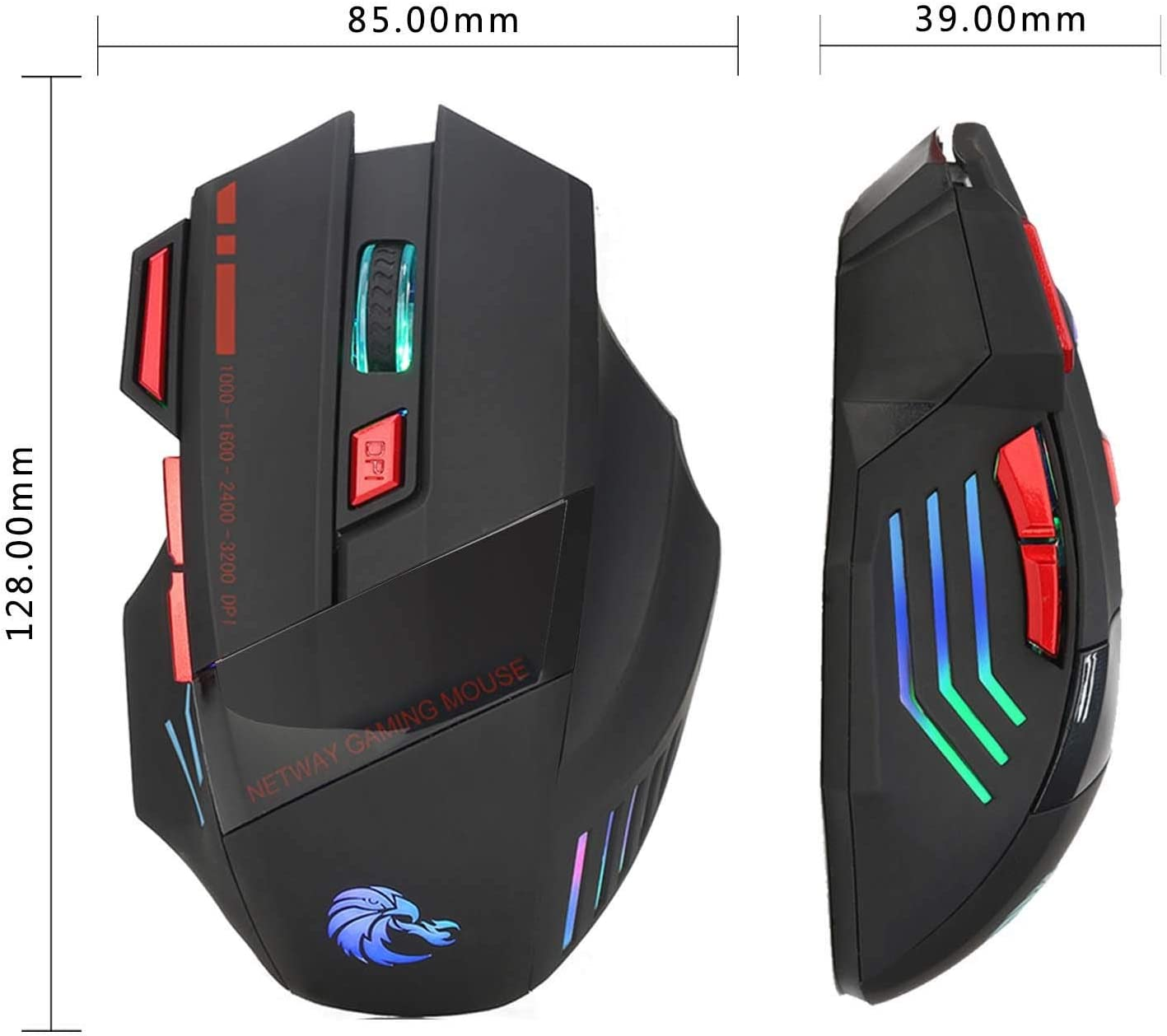 LUGEUK Colorful Luminous Gaming Mouse Wired Mouse 3200dpi Firepower Key Adjustable DPI Selection