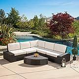 Great Deal Furniture Reddington Outdoor Wicker Patio Furniture Sectional Sofa Set (6 Piece, Brown Sunbrella)