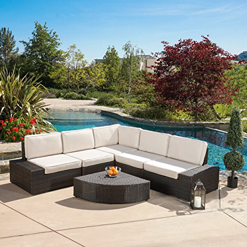 Reddington Outdoor Wicker Patio Furniture Sectional Sofa Set (6 Piece, Brown Sunbrella) (Sunbrella Patio Set)