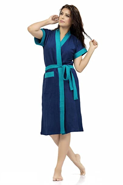 Be You Fashion Double Shaded Frozi Cotton Bathrobe (Dark Blue)