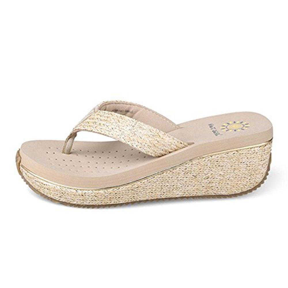 WANGXN Womens Flip Pantofole Sandali Tempo libero Anti-frantumazione e moda Verde Beige Marrone Nero , 5362 brown , 35