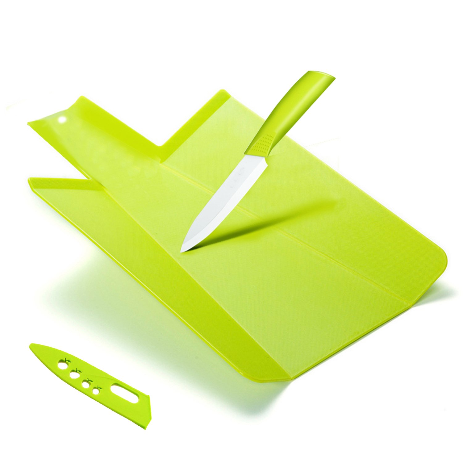 Kioos Foldable Cutting Board And 5 Inch Ceramic Knife Set Multifunctional Chopping Block and Chute with Portable Camping Outdoor Cutlery Green